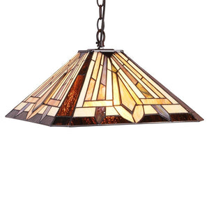 "CHLOE Lighting DENTON Tiffany-style 2 Light Mission Hanging Pendant Fixture 16"" Shade"