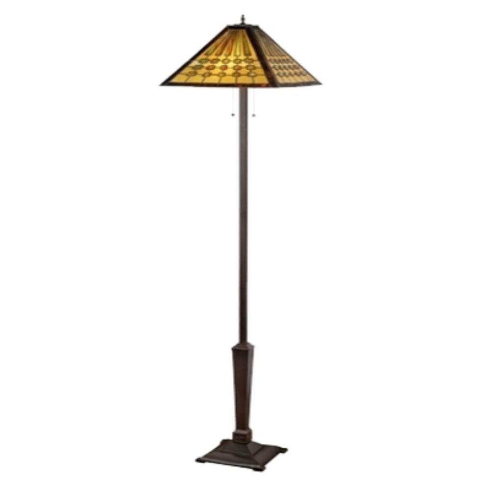 "CHLOE Lighting CHADRICK Tiffany-style 2 Light Mission Floor Lamp 18"" Shade"