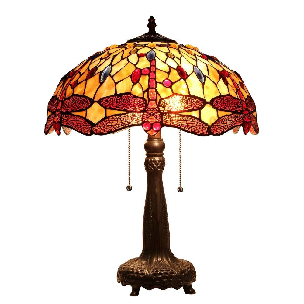 "CHLOE Lighting EMPRESS Tiffany-style Dragonfly 2 Light Table Lamp 18"" Shade"