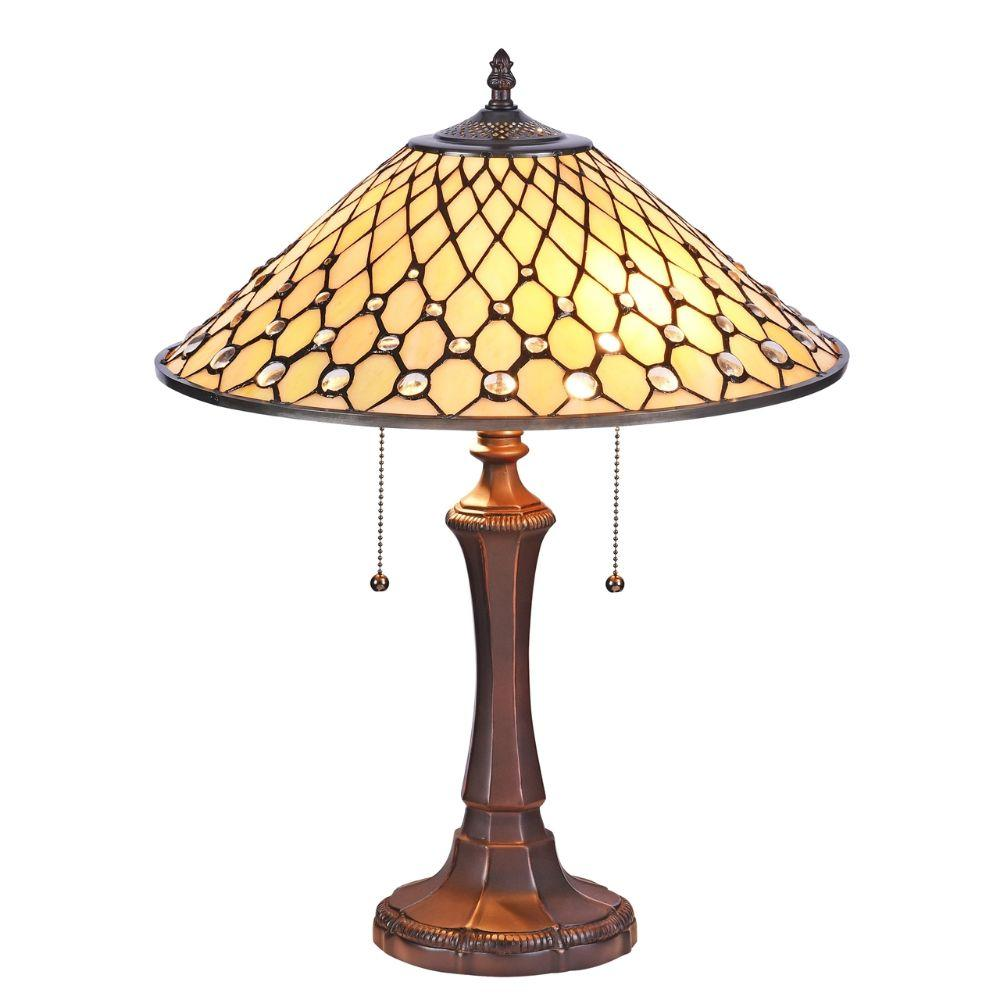 "CHLOE Lighting FANNY Tiffany-style Victorian 2 Light Table Lamp 16"" Wide"