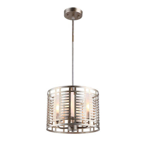 "CHLOE Lighting AVERY Industrial 4 Lights Antique Silver Ceiling Pendant 12"" Wide"
