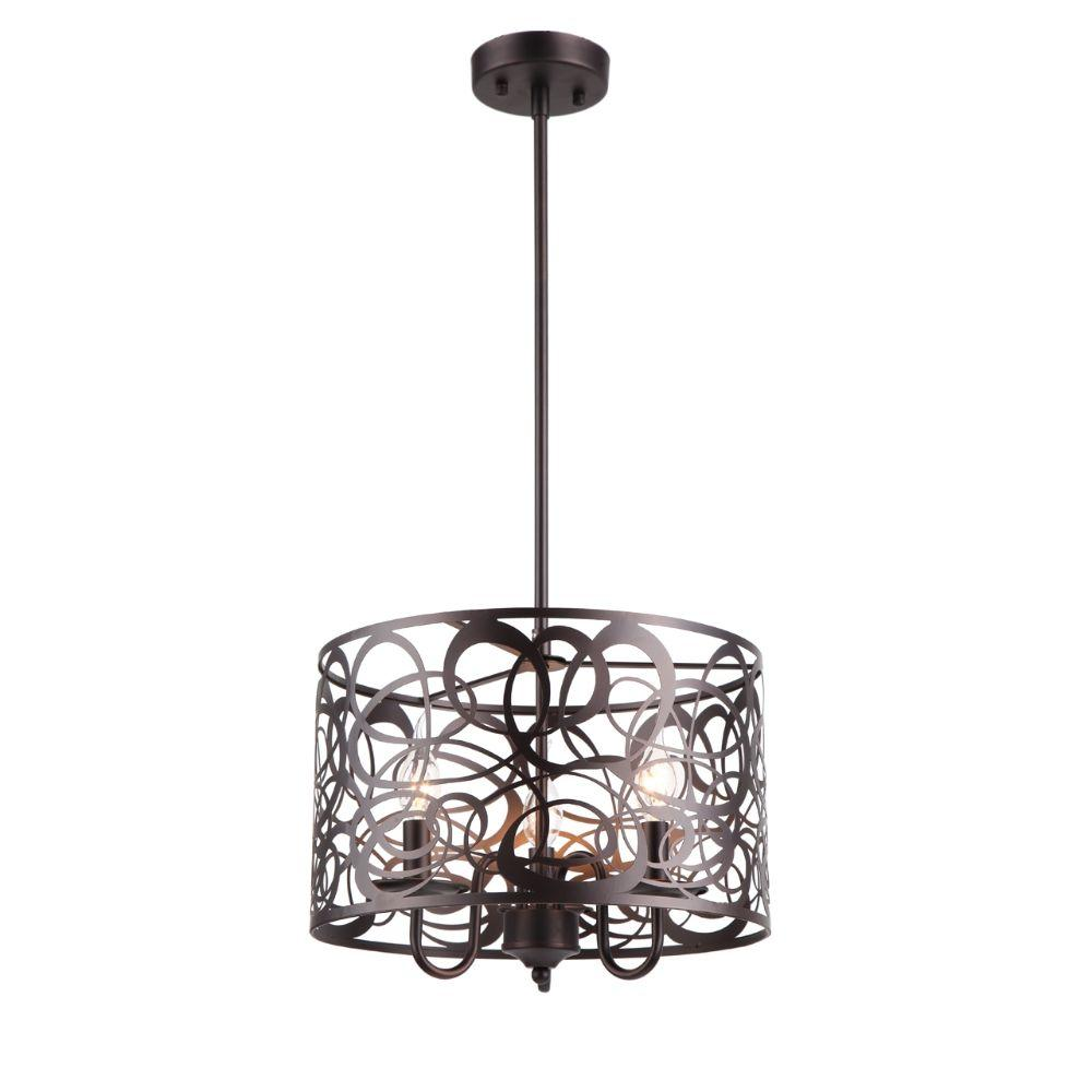 "CHLOE Lighting ARIANNA Farmhouse 3 Lights Rubbed Bronze Ceiling Pendant 14"" Wide"