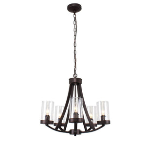 "CHLOE Lighting FLORENCE Farmhouse 5 Light Rubbed Bronze Chandelier 20.5"" Wide"