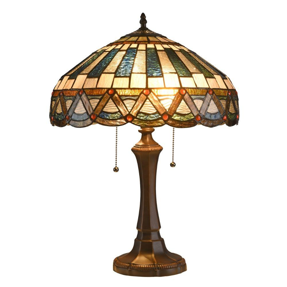 "CHLOE Lighting COURTLAND Tiffany-style 2 Light Mission Table Lamp 16"" Shade"