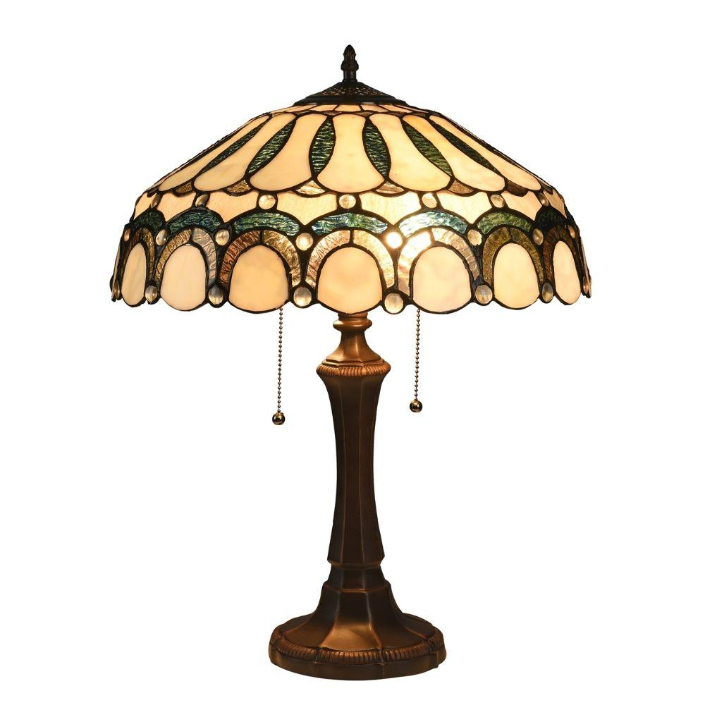 "CHLOE Lighting CLAUDE Tiffany-style 2 Light Victorian Table Lamp 17"" Shade"