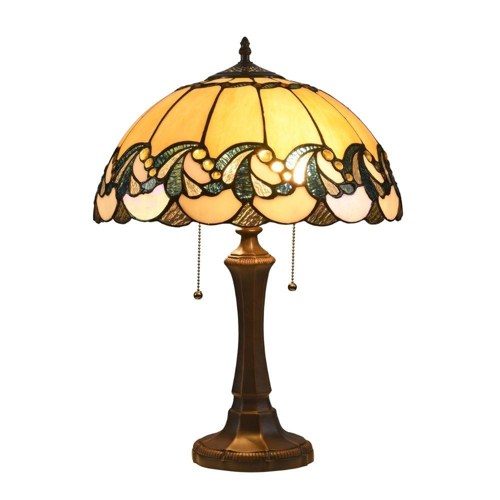 "CHLOE Lighting EFFIE Tiffany-style 2 Light Victorian Table Lamp 16"" Shade"