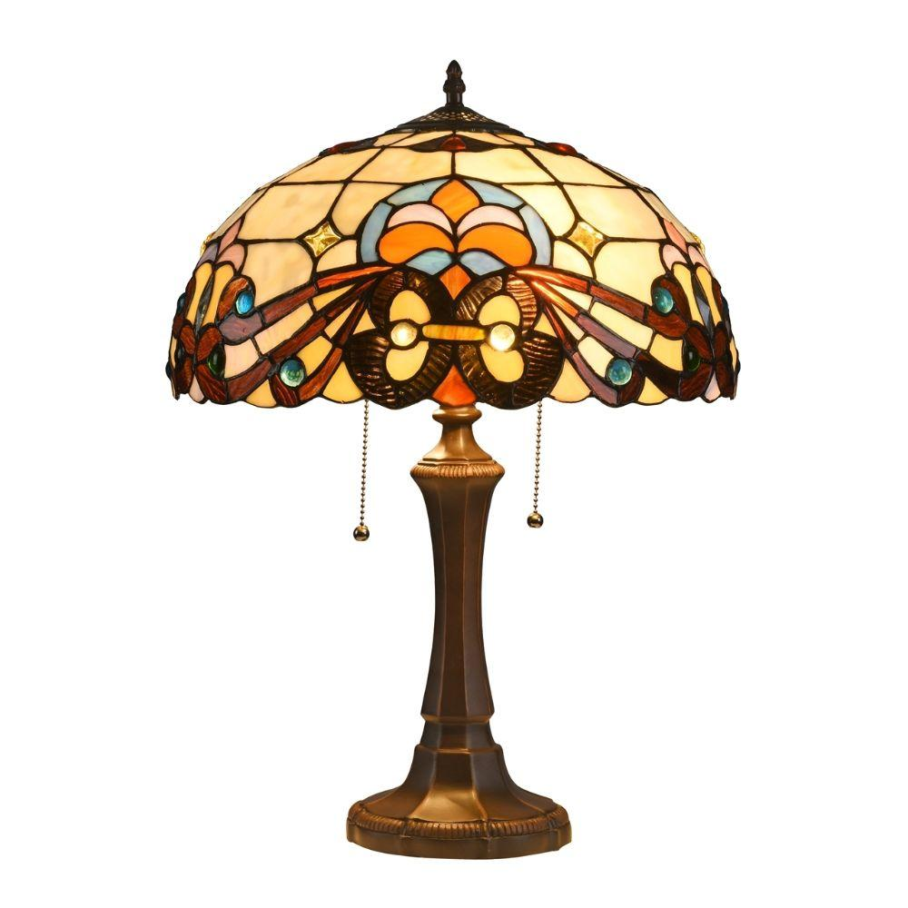 "CHLOE Lighting FLORENCE Tiffany-style 2 Light Victorian Table Lamp 16"" Shade"