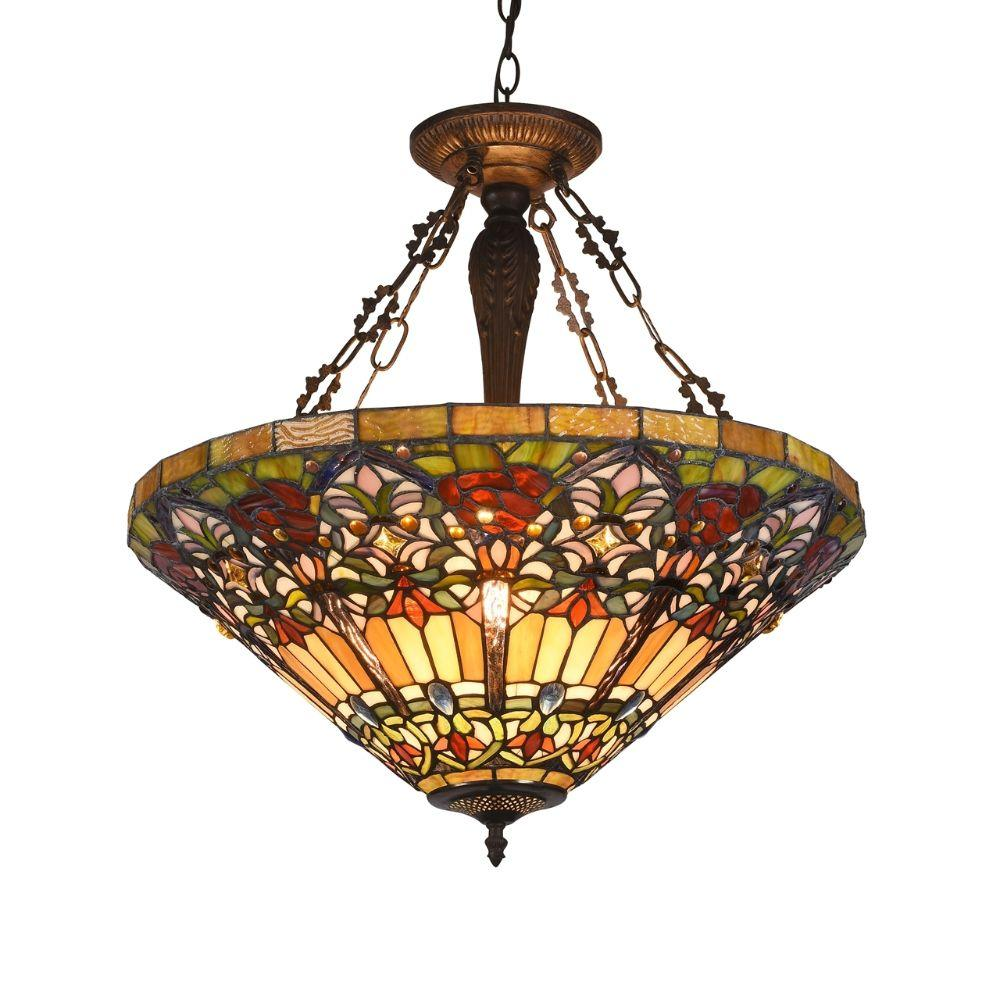 "CHLOE Lighting ALMA Tiffany-style 3 Light Victorian Inverted Ceiling Pendant 24"" Shade"