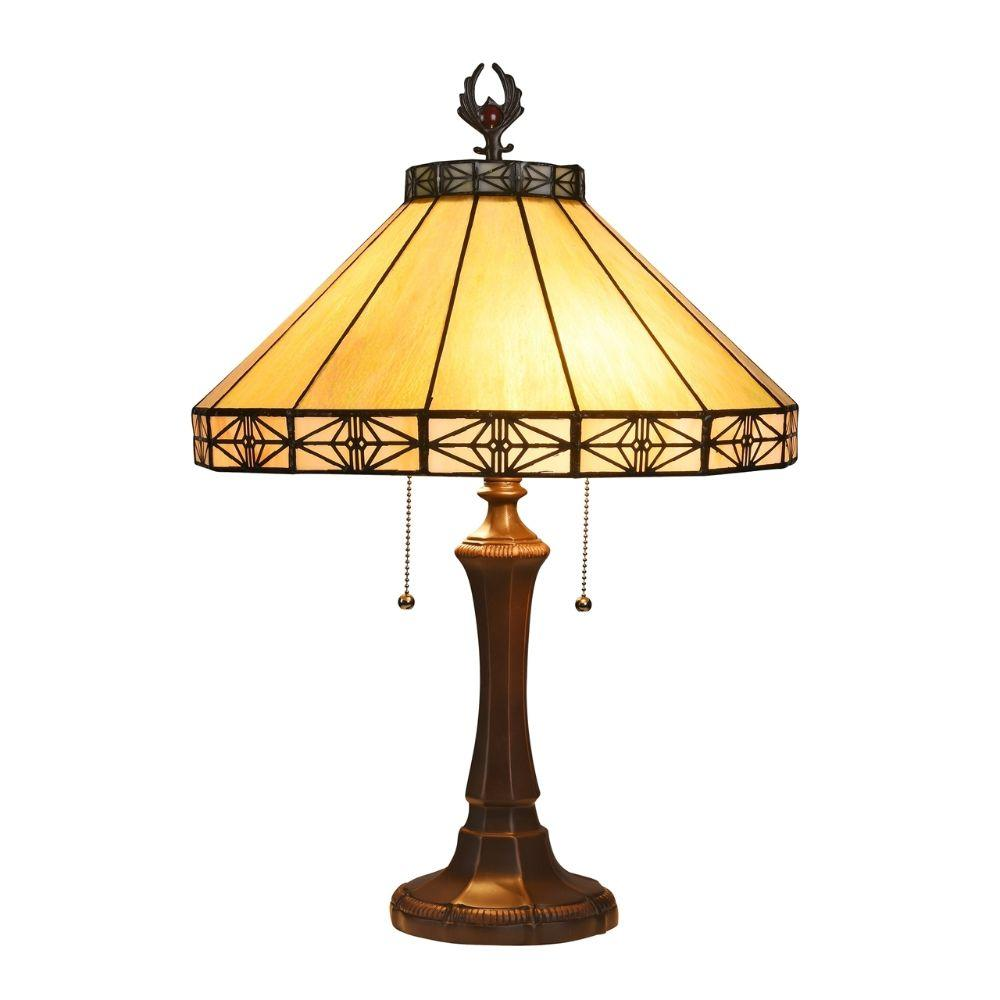 "CHLOE Lighting IDEN Tiffany-style 2 Light Mission Table Lamp 16"" Shade"