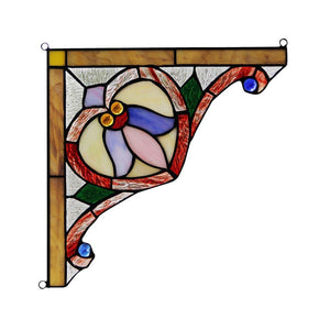 "CHLOE Lighting ARISTELLA Victorian Tiffany-glass Window Panel 10"" Wide"