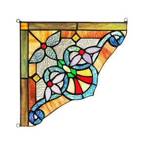 "CHLOE Lighting ANELISA Victorian Tiffany-glass Window Panel 10"" Wide"