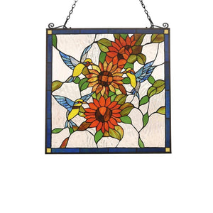 "CHLOE Lighting COSTA Animal Tiffany-glass Window Panel 24"" Wide"
