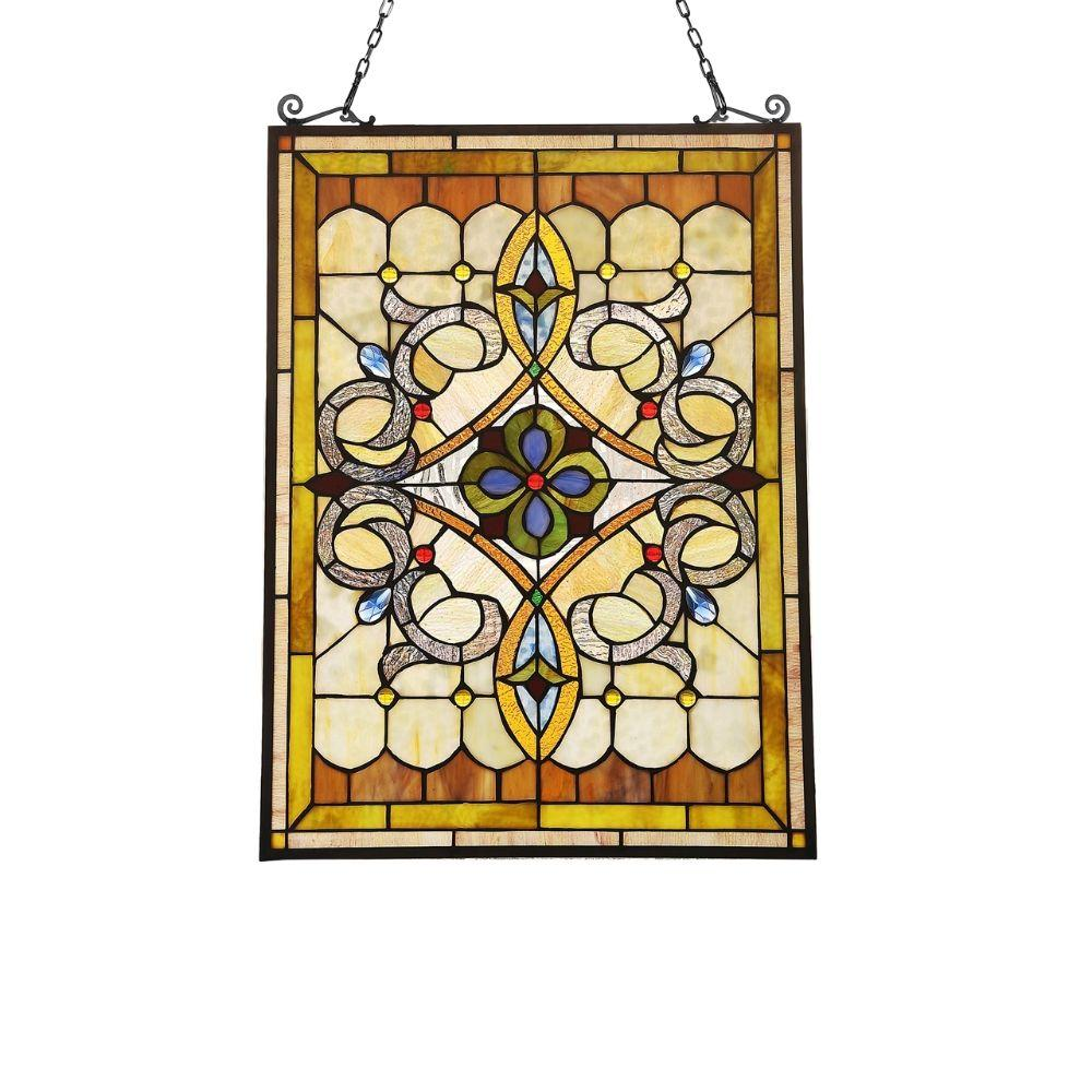 "CHLOE Lighting DELILAH Victorian Tiffany-glass Window Panel 24"" Tall"