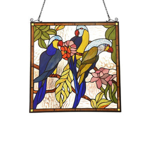 "CHLOE Lighting AVA Animal Tiffany-glass Window Panel 24"" Tall"
