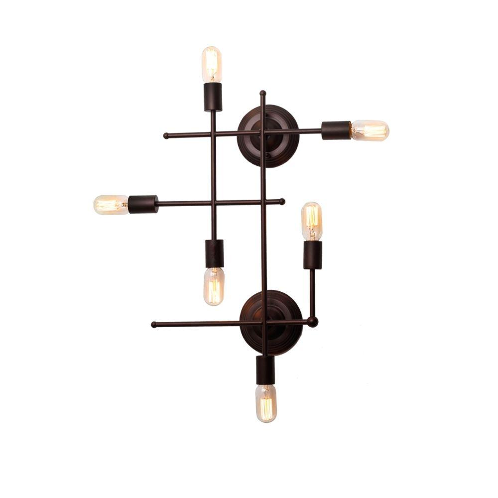 "CHLOE Lighting AYLETT Industrial 6 Light Oil Rubbed Bronze Wall Sconce 26"" Wide"