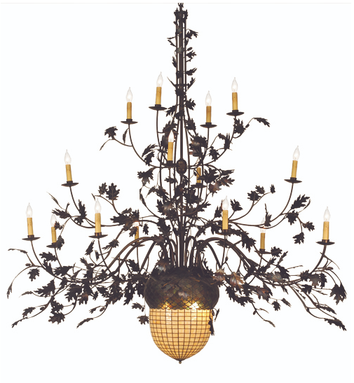 "100""W Greenbriar Oak 16 Arm Chandelier"