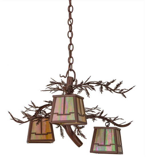 "28""W Pine Branch Valley View 3 LT Chandelier"