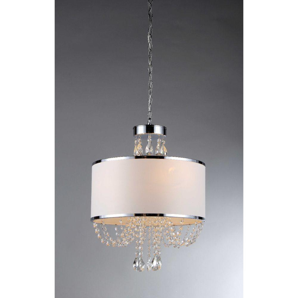 Hera' Shaded Crystal-Detailed 4-Light Chandelier