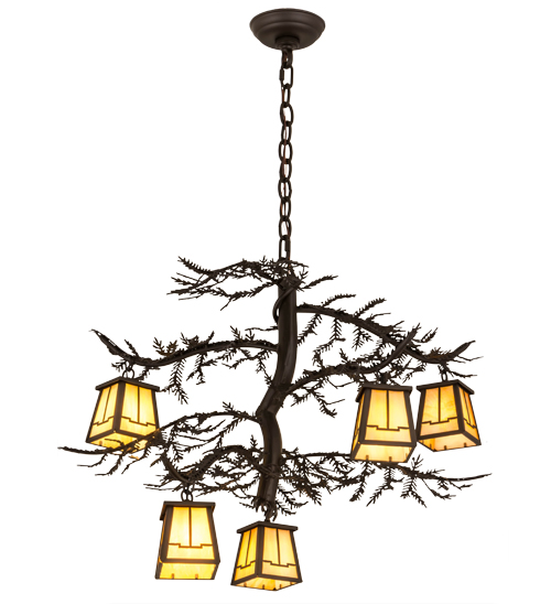 "29""W Pine Branch Valley View 5 LT Chandelier"