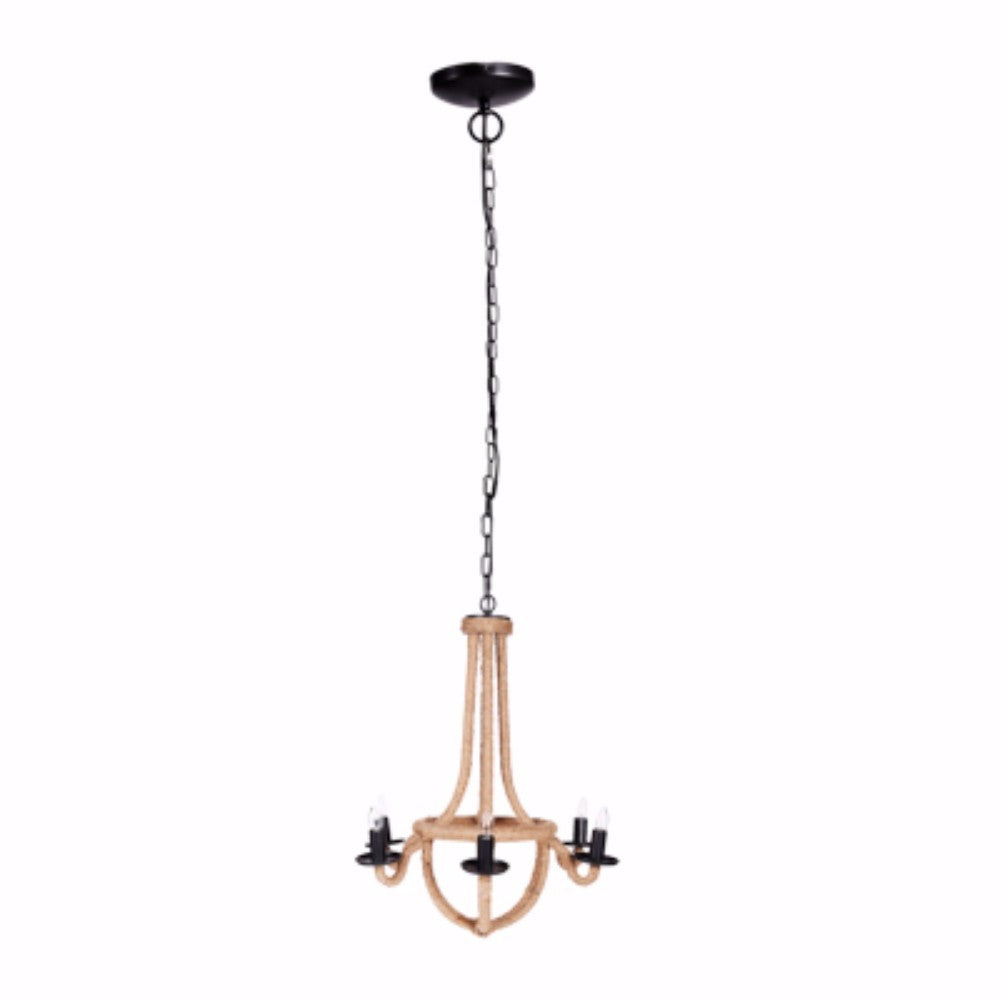 Solid Iron Spray 6-Light Chandelier, Gold And Black