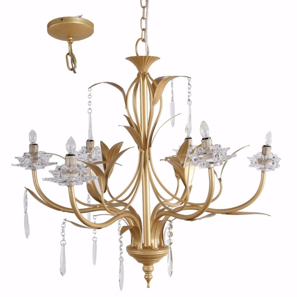 Glamorous Nature Inspired 6- Light Chandelier, Gold And Clear