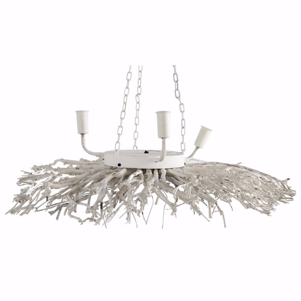 Captivating Nature Inspired 3- Light Chandelier, White