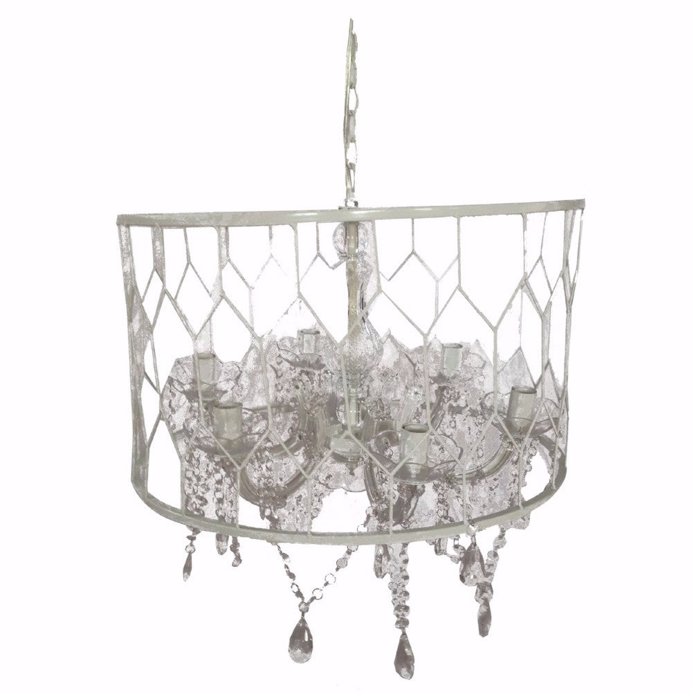 Drum Shaped Chandelier With Hanging Crystals, White