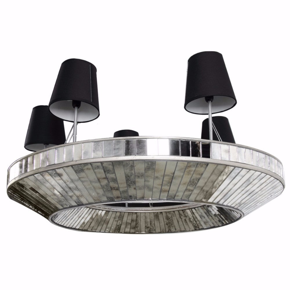 Modern Style Glass And MDF 5-Light Chandelier, Silver And Black