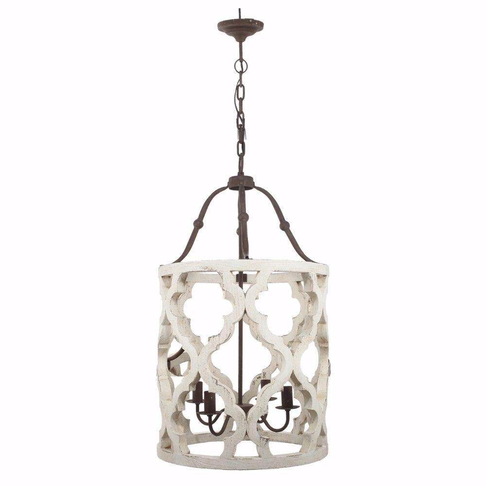4-Light Wood Chandelier, White