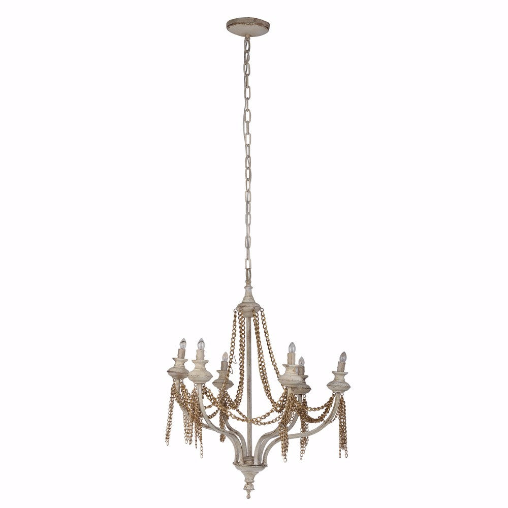 Traditional Style Chained 6-Light Chandelier, White