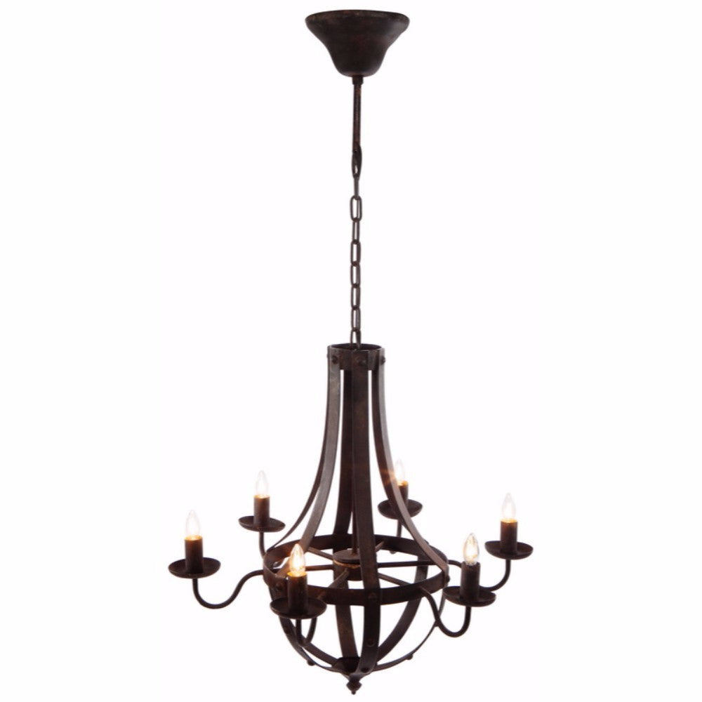 6-Light Candelabra Iron Chandelier, Brown