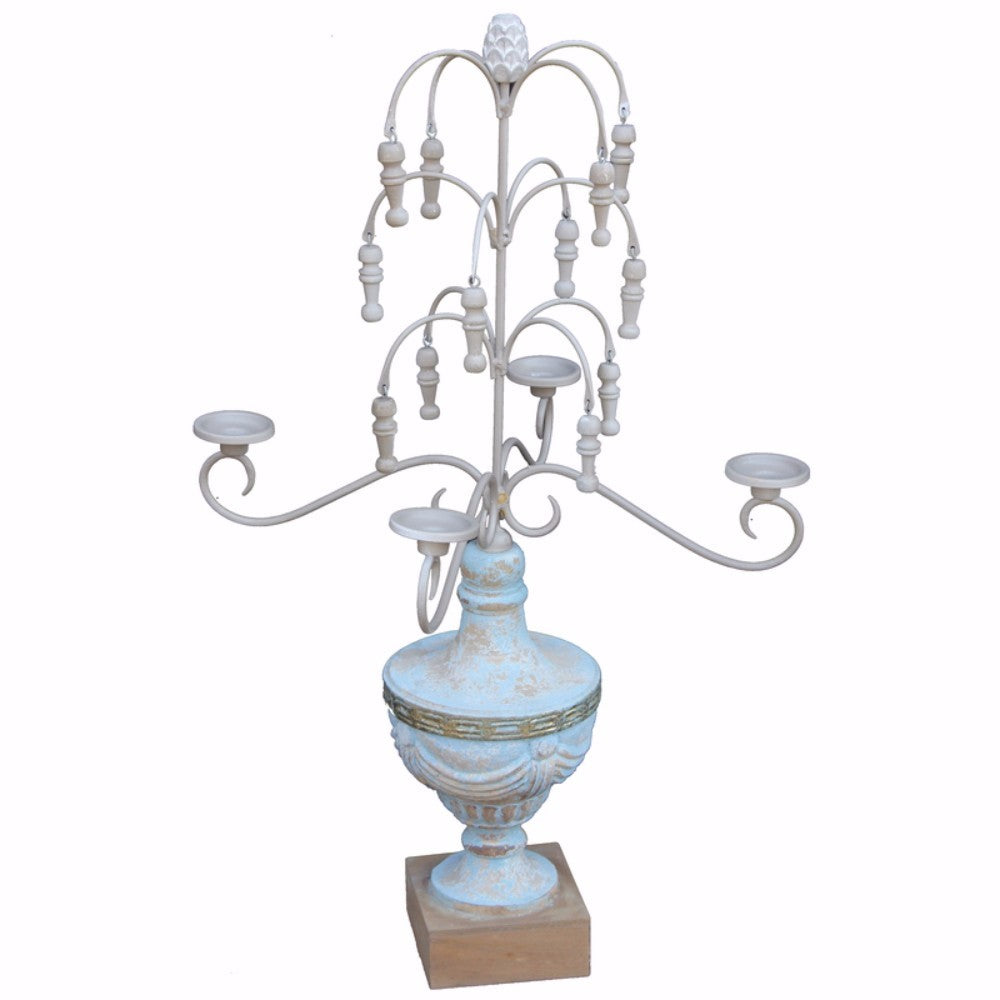 Wooden Chandelier Candle Holder, Blue