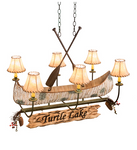 "36"" Long Personalized Canoe 6 Light Chandelier"
