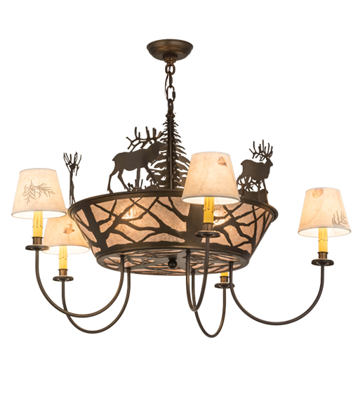 "36""W Elk on the Loose 5 LT Chandelier"