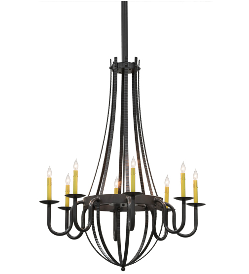 "38""W Barrel Stave Metallo 8 LT Chandelier"