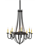 "43""W Barrel Stave Metallo 8 LT Chandelier"