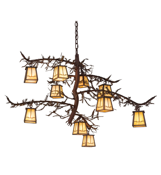 "39""W Pine Branch Valley View 10 LT Chandelier"