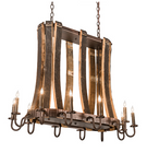 "40""L Barrel Stave Madera 12 LT Oblong Chandelier"