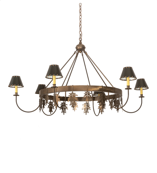 "53"" Wide Oak Leaf 6 LT Chandelier"