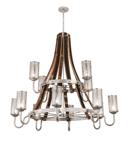 "60""W Barrel Stave Winter Maple 12 LT Two Tier Chandelier"