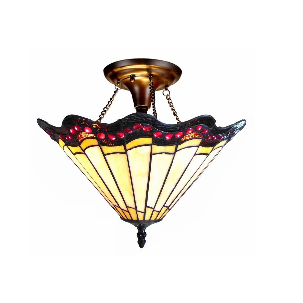 "CHLOE Lighting ADRIANA Tiffany-style 2 Light Baroque Semi-flush Ceiling Fixture 16"" Shade"
