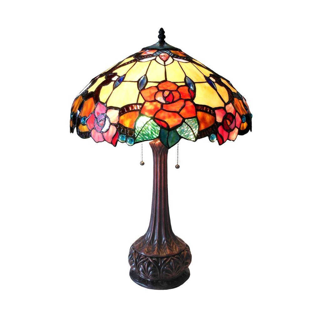 "CHLOE Lighting CAPUCINE Tiffany-style 2 Light Floral Table Lamp 18"" Shade"