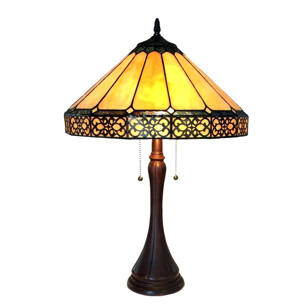 "CHLOE Lighting ELEANOR Tiffany-style 2 Light Mission Table Lamp 16"" Shade"
