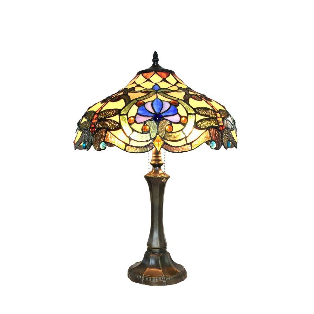 "CHLOE Lighting AMBERWING Tiffany-style 2 Light Dragonfly Table Lamp 17"" Shade"