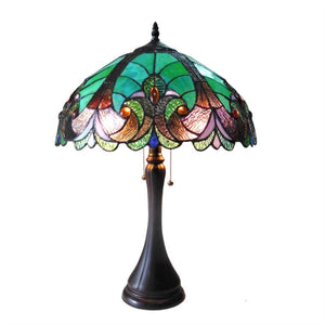 "CHLOE Lighting AMOR Tiffany-style 2 Light Victorian Table Lamp 16"" Shade"