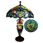 "CHLOE Lighting DEMETRA AURORA Tiffany-style 3 Light Victorian Double Lit Table Lamp 18"" Shade"