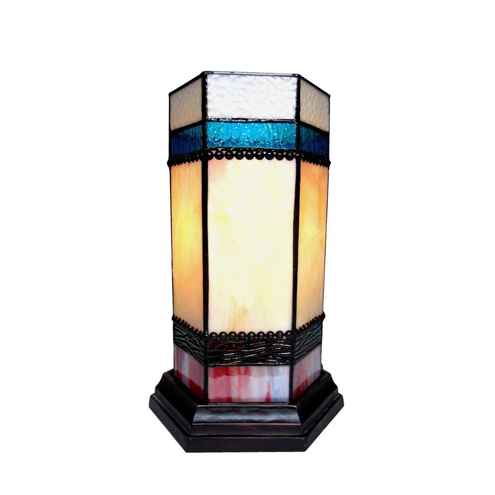 "CHLOE Lighting CHESTER Tiffany-glass Accent Pedestal 1 Light table lamp 14"" Tall"