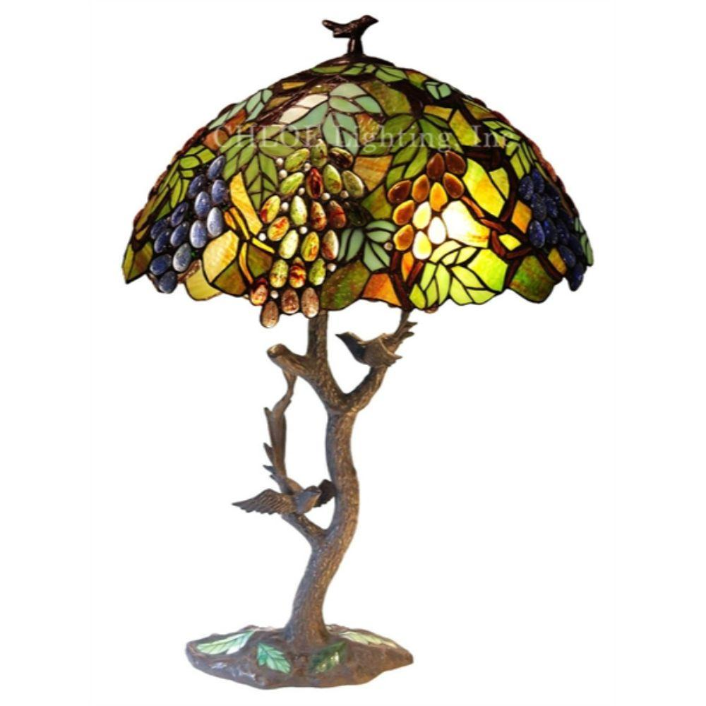 "CHLOE Lighting 2 Light Tiffany-style featuring Leafs & Grapes Table Lamp Oval Shape 20"" Shade"