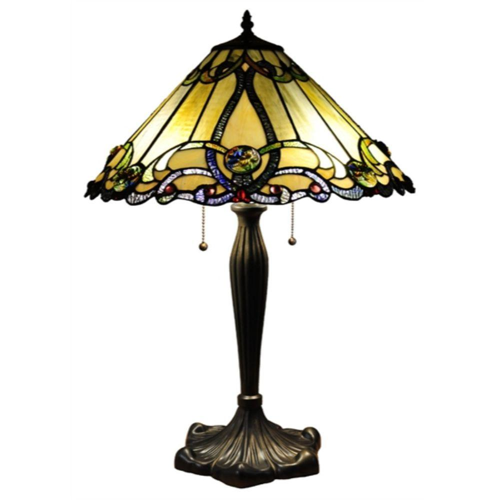 "CHLOE Lighting MAJESTIC GRANDEUR Tiffany-style 2 Light Victorian Table Lamp 18"" Shade"