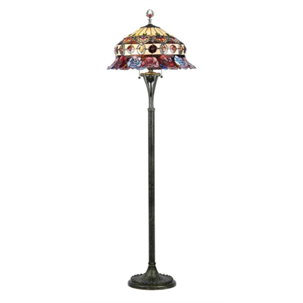 "CHLOE Lighting 3 Light Tiffany-style Roses Scalloped Floor Lamp 20"" Shade"